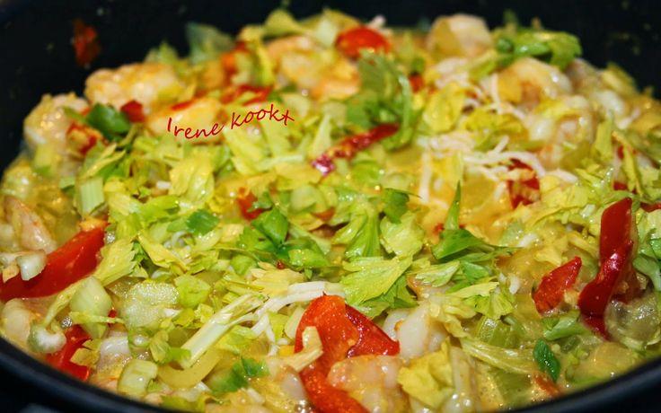 Irene kookt: Maleisische garnalencurry (met Slim Noedels)  Een heerlijk glutenvrij en koolhydraatarm gerecht met Slim Noodles