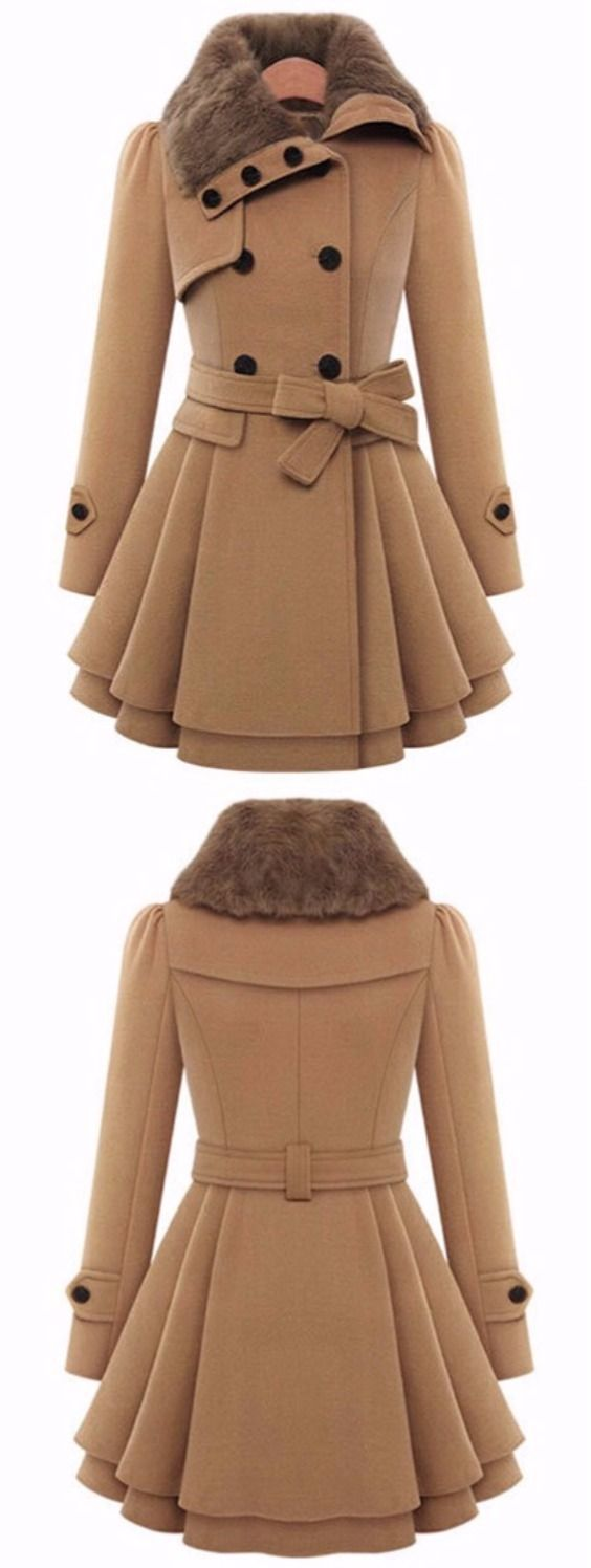 A Line Skirted Coat with Belt. Want one in blue or red. Maybe purple.