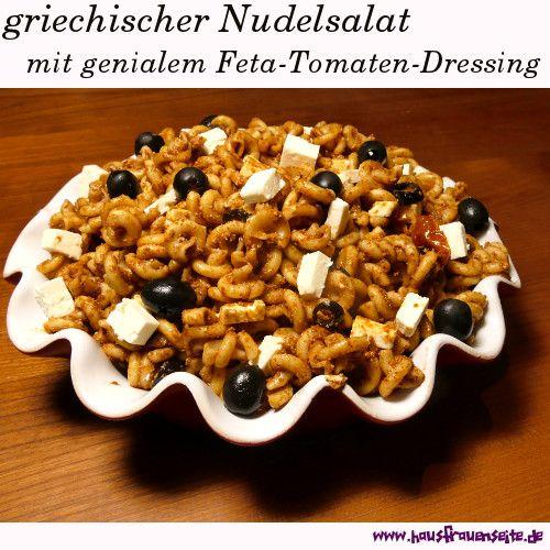 griechischer Nudelsalat mit Feta-Dressing - Nudelsalatrezept  das Feta-Dressing ist DER Clou an diesem griechischen Nudelsalat vegetarisch