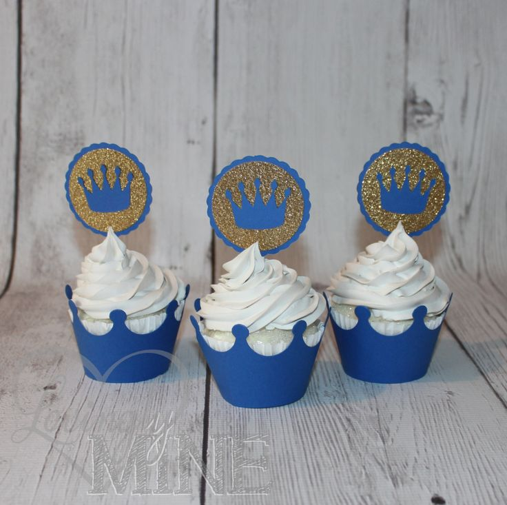 Little Prince Cupcake Toppers in Royal Blue & Glitter Gold - Set of 12 - Baby Shower, Birthday by LovinglyMine on Etsy