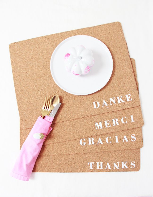 Love the stenciled placemats with the German, French, Spanish & American words for Thank You.