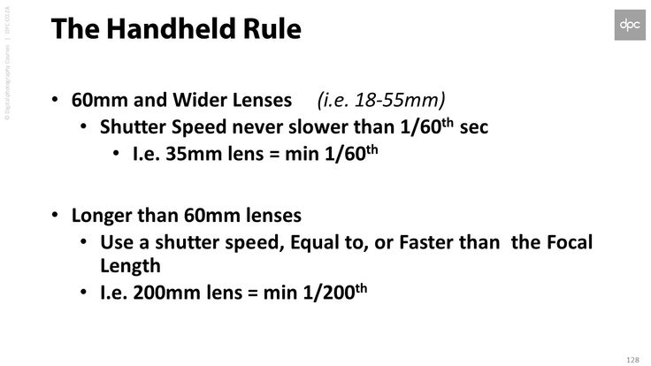 """""""The Handheld Rule"""" Minimum shutter speeds required for handheld shooting (From the Classroom 