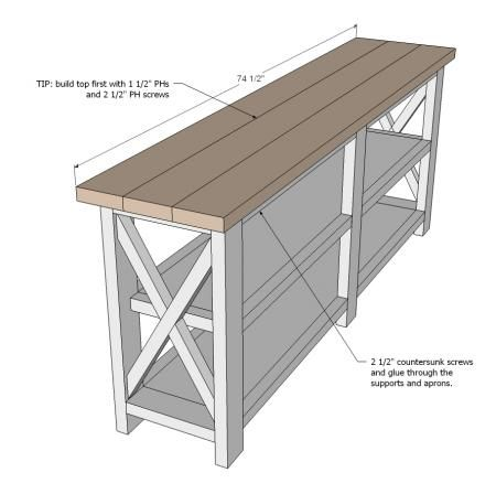 Ana White   Build a Rustic X Console   Free and Easy DIY Project and Furniture Plans