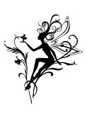 Vector  Illustration Silhouette of funky fairy on flower  pattern design stock photography