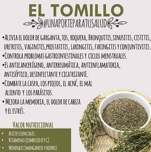 "196 Me gusta, 3 comentarios - Nutri TIPS (@nutri.tips00) en Instagram: ""TOMILLO #NutriTIPS #tomillo #beneficios #nutritips #nutricion #nutrition #InformacionNutricional…"""