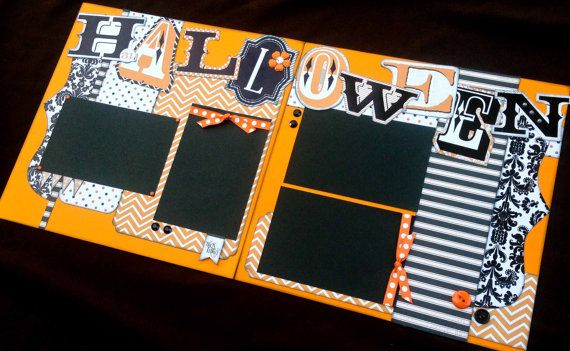 """12x12 Scrapbook Page Halloween Themed Kit . DIY Kit or Pre-Made Double Page Layout. Teresa Collins """"Masquerade Party"""" paperline. Halloween."""