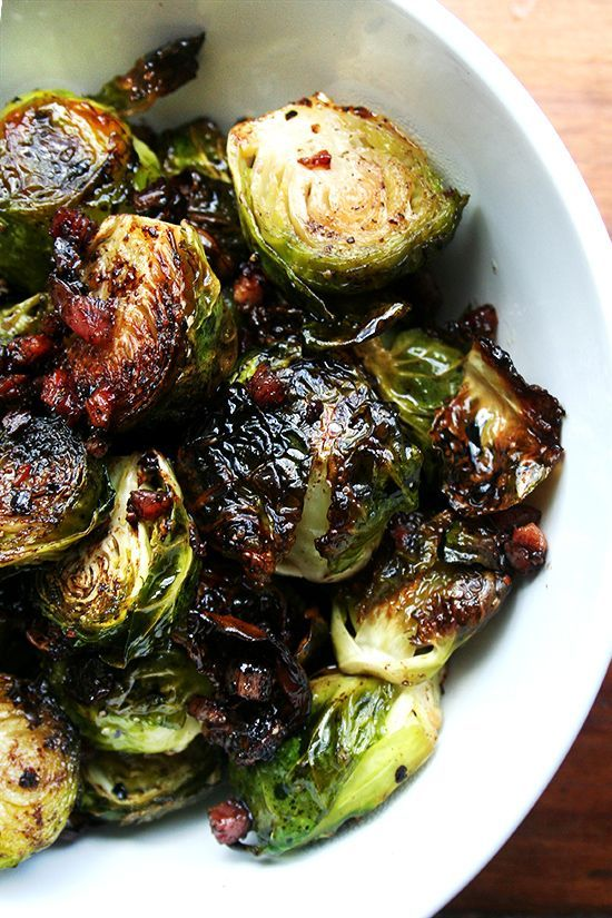 Ina Garten's Roasted Brussels sprouts with (or wihout!) Pancetta and Syrupy Balsamic — a favorite this time of year. Making it for Thanksgiving this year, too, without the pancetta — so good.