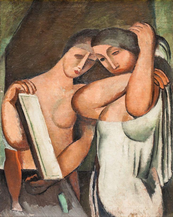 Mimořádně vzázcný olej ALFRÉDA JUSTITZE - Dvě ženy před zrcadlem v naší aukci již tuto neděli 20.11.2016 od 13 hodin v Grégrově sále Obecního domu Praha - www.europeanarts.cz