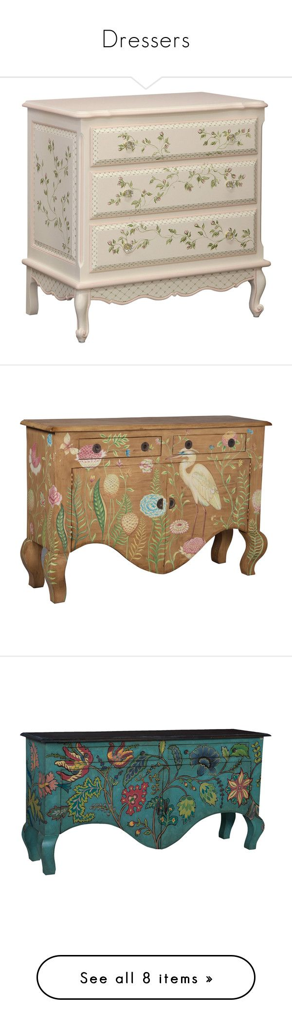 """""""Dressers"""" by loves-elephants ❤ liked on Polyvore featuring furniture, home, storage & shelves, sideboards, tropical furniture, handpainted furniture, mahogany buffet, hardware furniture, butterfly furniture and colorful furniture"""