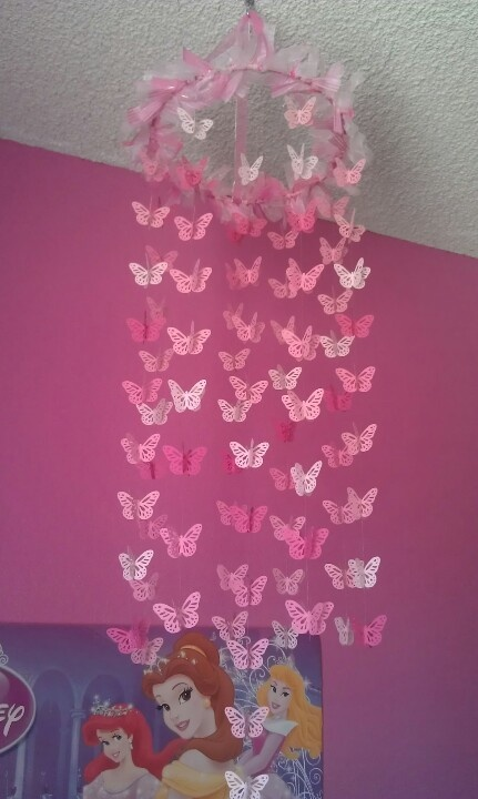 DIY Baby Mobile :D -Made under $20- Butterflies @ eBay  Fishing string @ WM Clear Glue Pen & Ring @ Hobby Lobby Ribbon @ Michaels  ***Don't forget free coupons for Hobby Lobby & Michaels online***