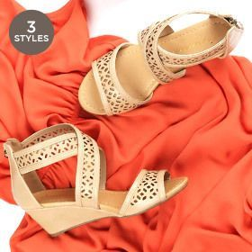 Women's Low Wedge Strappy Sandals - Choxi