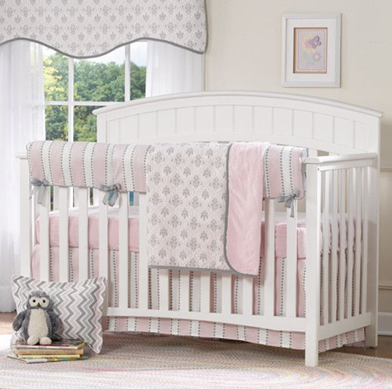 pink and gray baby bedding bumperless crib bedding set liz and roo fine baby