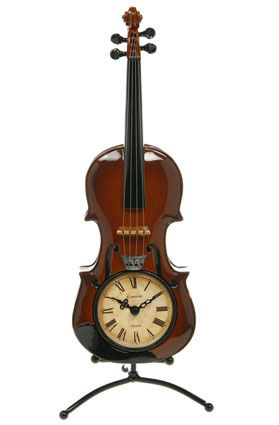Violin table clock. #musicclock #violin #clock http://www.pinterest.com/TheHitman14/music-paraphenalia/