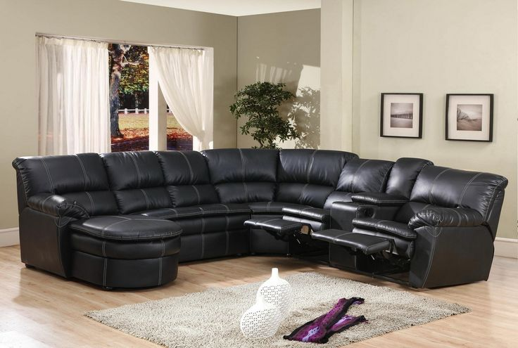 4 pc black bonded leather sectional sofa with recliners for Black leather sofa chaise lounge