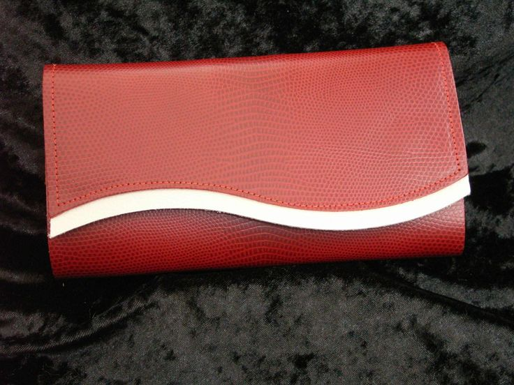 Red satin leather with creme trim