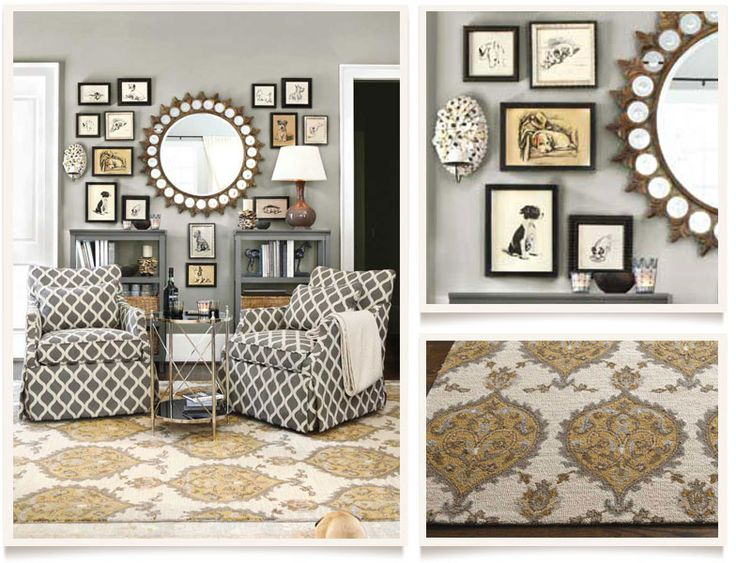Light Grey walls, gold accents Allegro Living Room Furniture Collection | Ballard Designs