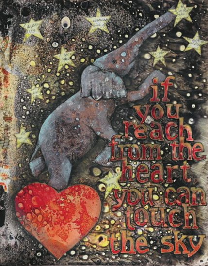 "I love this piece ""Elephant Reaching"" by Kayann Ausherman because it's not only fun, but also a great source of inspiration. Find more mixed media pieces at Cloth Paper Scissors. #NationalCraftMonth"