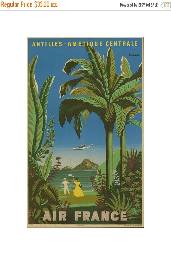 """50% Off Estate Sale Vintage Air France Print, 1949 Advertisement,  Matted to 11"""" x 14"""",  Aviation Travel Picture Antilles No. 200 7"""