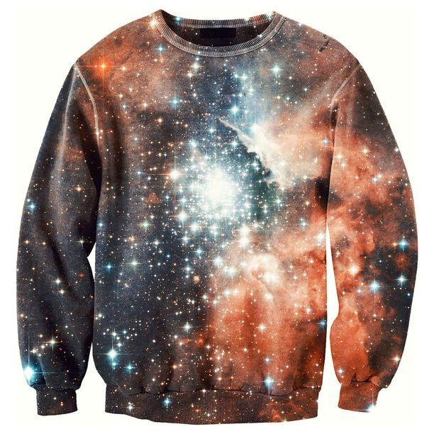 #Galaxy Sweater II Unisex #orange, #navy, women's apparel #space