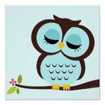 Cartoon Owl Children's Wall Art Print by heartlocked