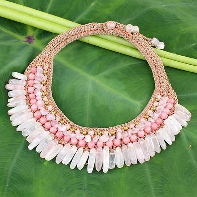 Rose quartz beaded choker, 'Thai Rose' - Beaded Crocheted Choker with Rose Quartz