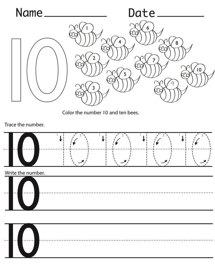 Number 10 Preschool Worksheet Practice   Kindergarten ...