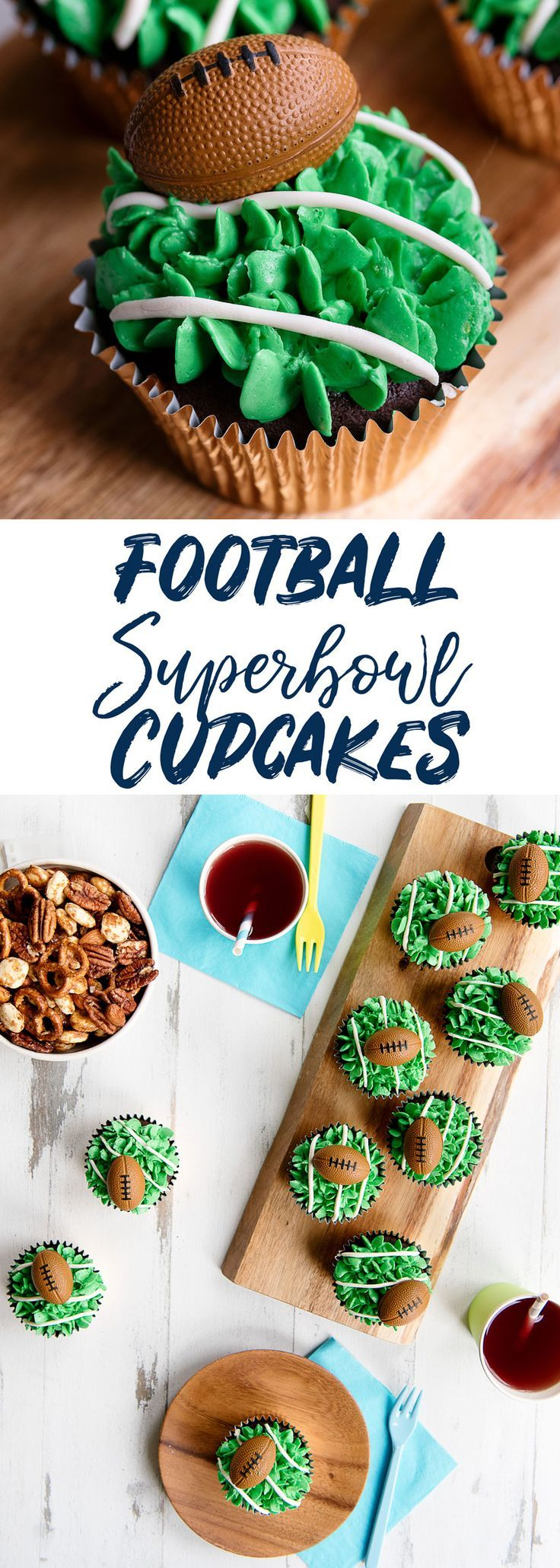 Easy Superbowl Football Cupcakes with Piped Grass Frosting #football #tailgate #superbowl #cupcakes #partyfood