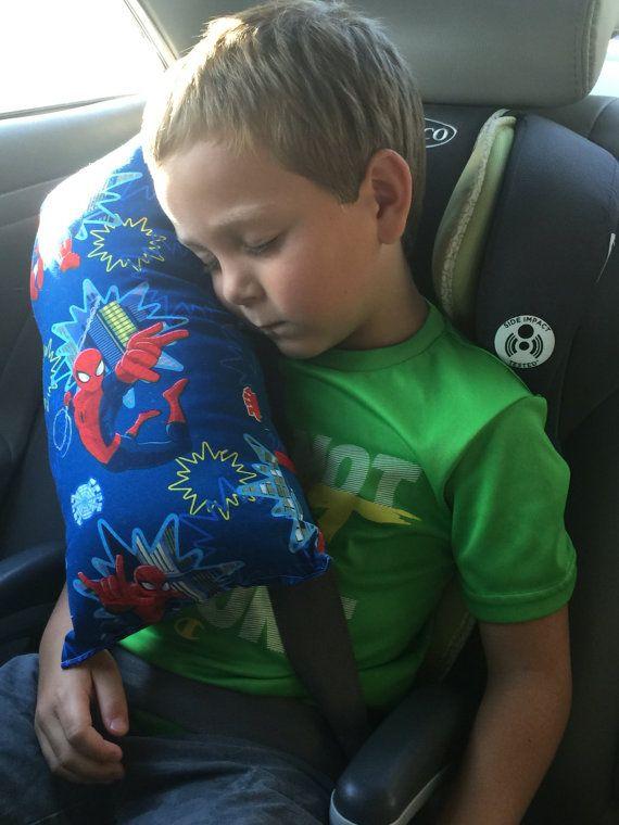 spider man seat belt pillow kids travel pillow by jenammyes