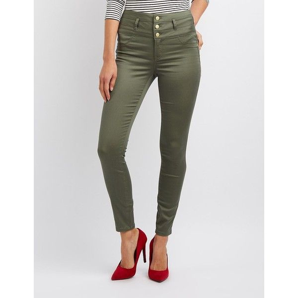 Refuge Hi-Waist Skinny Jeans ($33) ❤ liked on Polyvore featuring jeans, olive, high rise jeans, olive skinny jeans, slim fit skinny jeans, high waisted jeans and high waisted skinny jeans
