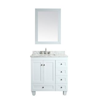 Eviva Acclaim C. 30-inch Transitional White Bathroom Vanity with White Carrera…