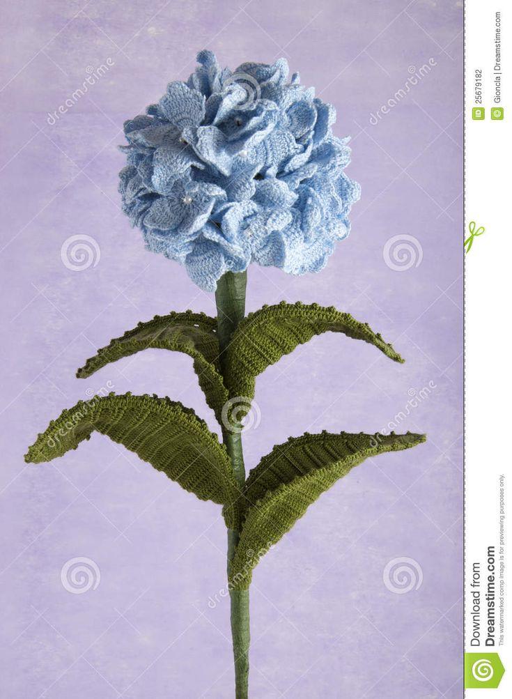 Crochet Flowers Blue Hydrangea Stock Photography - Image: 25679182
