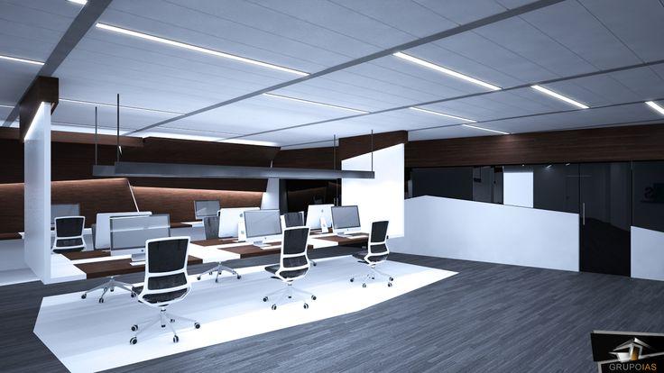 Diseño zonas de trabajo en oficina diseño moderno