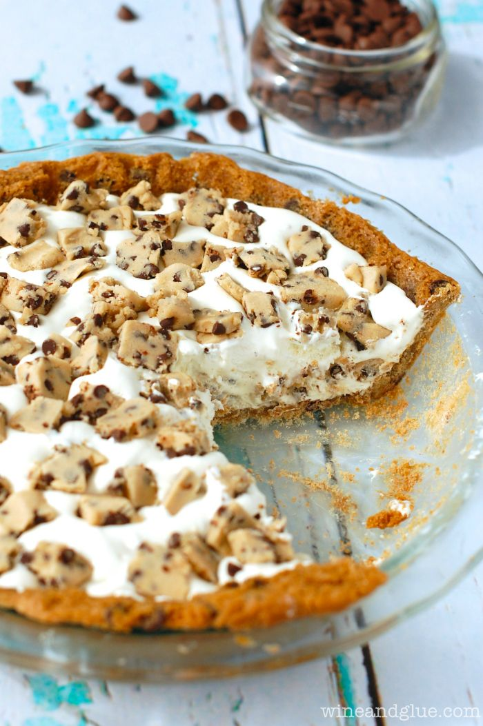 Chocolate Chip Cookie Crusted Cookie Dough Ice Cream Pie