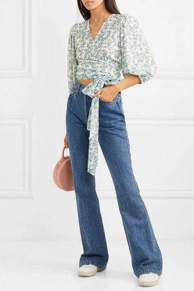 d9c76ae6 GANNI - Cropped floral-print mesh wrap top in 2019 | clothing | Tops ...