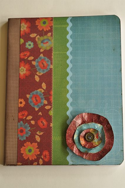DIY journals /notebooks with composition books, scrapbook paper, and duct tape! (washer necklace pics too)