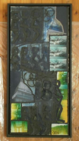 Olimpiadi d'arte in discesa di sequenza libera 50x109 olio, smalto, elementi fotografici