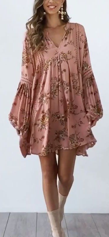 #summer #outfits  Pink Floral Dress