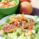 quick grilled chicken with peach pico de gallo