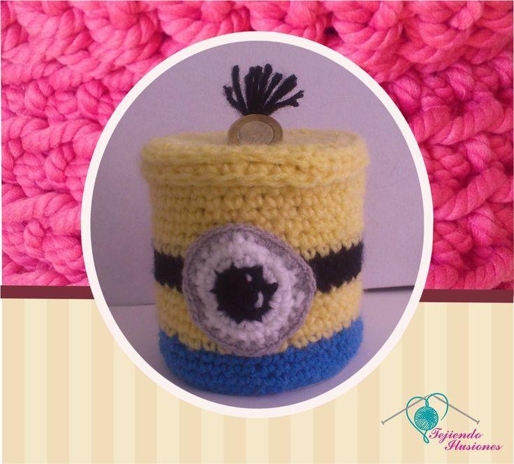 Modelo N° 6: Alcancía Minions, bonita alcancía tejida en forma de minion , #crochetalcancia #ahorro #crochetminion #minion #niñoscrochet