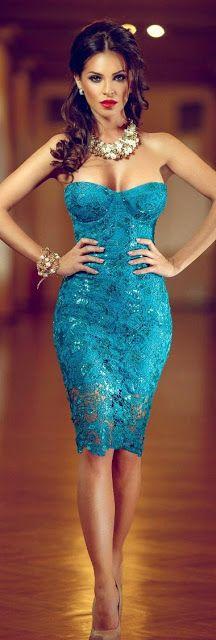 Turquoise lace dress prom dress