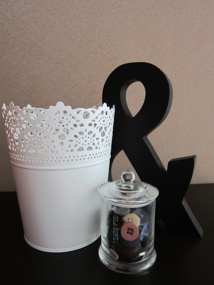 Glasshouse candle, re-used as a button jar