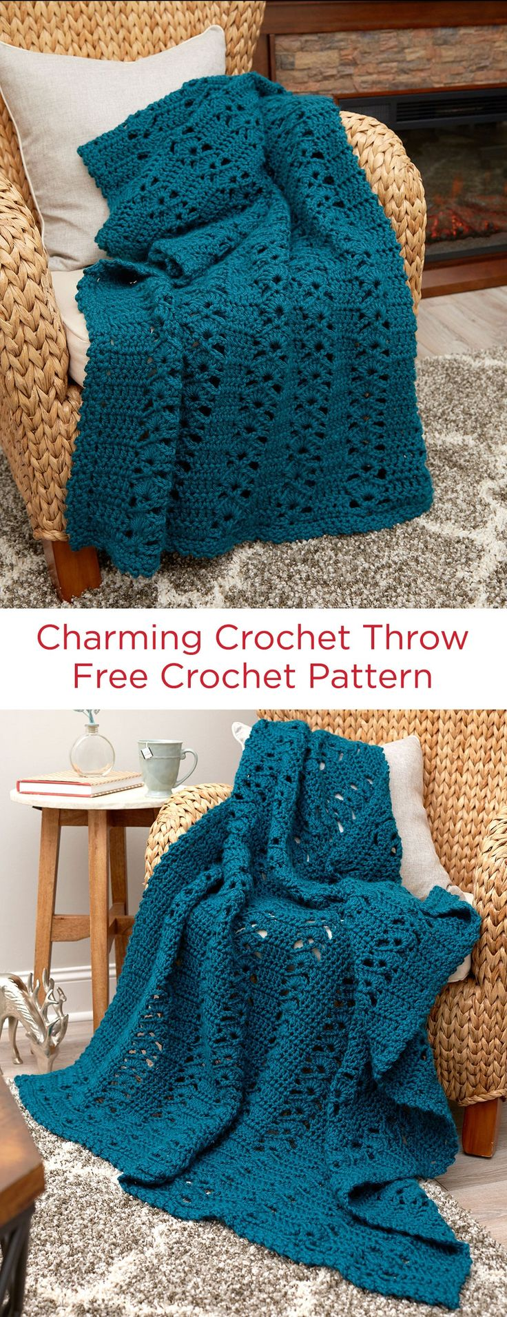 Charming Crochet Throw Free Crochet Pattern in Red Heart Soft Essentials Yarn -- This combination of shell and v-stitches work well for a nice chunky yarn throw. Crochet it all in one color for any relaxing spot in your home.