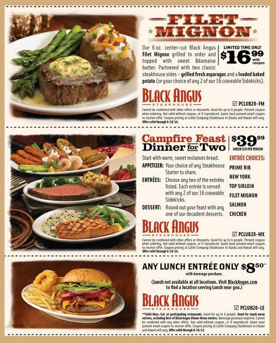 graphic relating to Black Angus Printable Coupons titled Cafe Coupon codes Identify