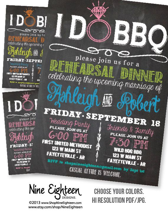 I Do BBQ Rehearsal Dinner Invitation Chalkboard look Custom PRINTABLE PDF invitation. I design, you print. Made to Match add ons available.
