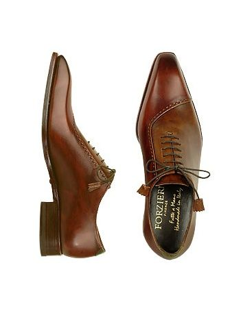 Forzieri Brown Italian Handcrafted Leather Cap Toe Dress Shoes | FORZIERI