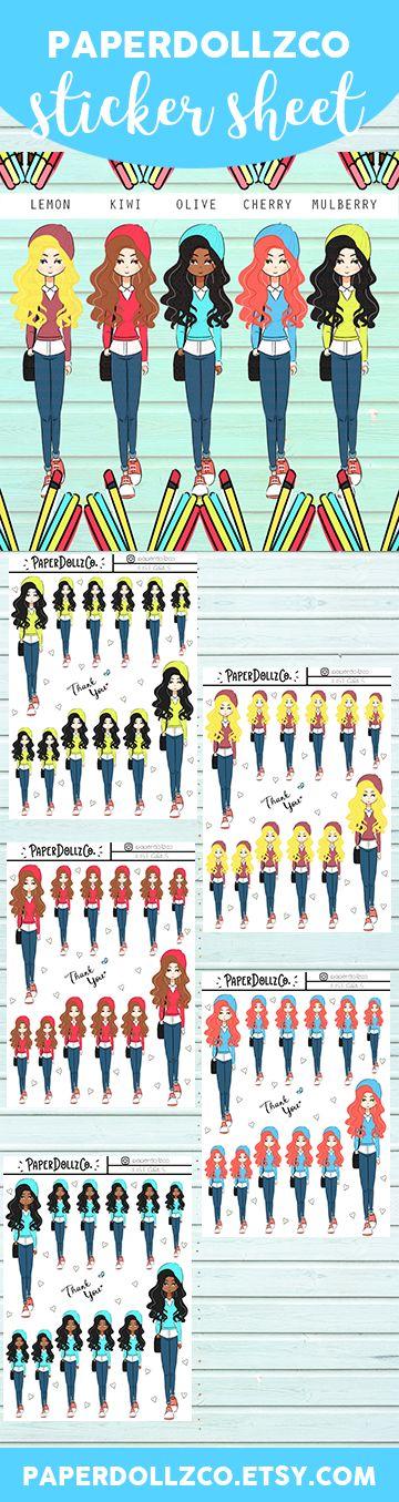 College Girls Functional Planner Stickers Blondie | Brown Hair | Black American | Red Hair | Brunette
