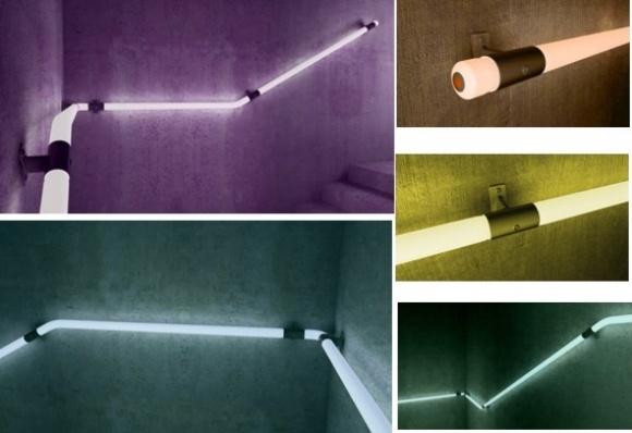 corrimão de LED  Criado pelo designer Croata Zoran Sunjic, o corrimão luminoso é uma grande solução  para escadas, não só pela sua praticidade, mas também pela sustentabilidade e economia pois usa lâmpadas de LED que gastam pouquíssima energia e espalham bem a luz pelo espaço da escada, eliminando a necessidade de outras lâmpoadas ou luzes de ambiente.  O sistema é feito com cordões de lâmpadas de LED dentro de tubos transparentes de Policarbonato (tipo de acrílico muito forte).