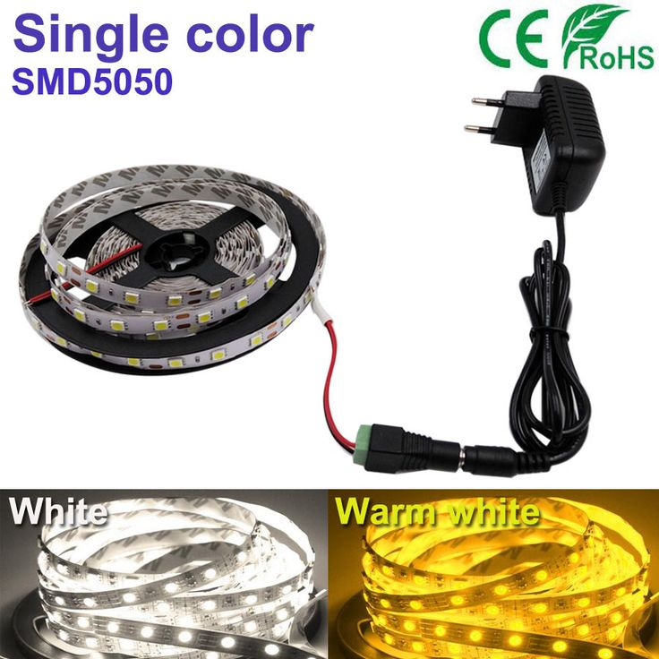 5 M 300 led strip Putih/putih Hangat LED Jalur cahaya String Ribbon Pita Lebih Terang 5050SMD + 2A power Untuk indoor rumah dekoratif