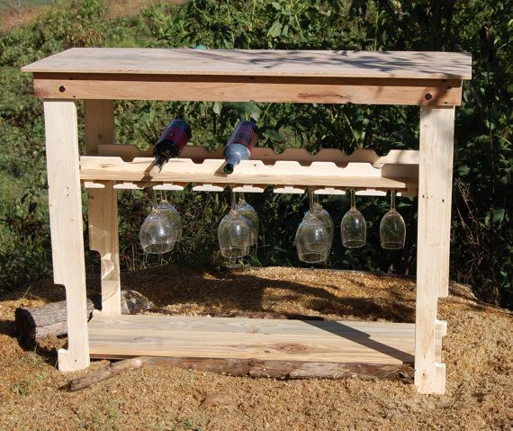 unfinished reclaimed wood wine rack table modern bar console buffet on etsy - Wine Rack Table