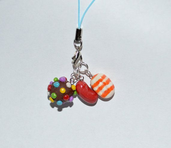 Candy Crush Cell Phone Charm three polymer by KrissysKnitDesigns, $15.00
